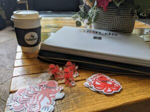 Mondo Stickers, Pins, and laptop